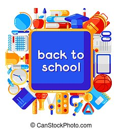 Back to school background with education icons.