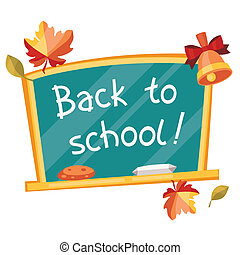 Back to school background with green chalkboard.