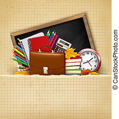 Back to school. Background with school supplies and old paper. Vector