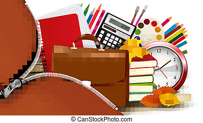 Background with school supplies