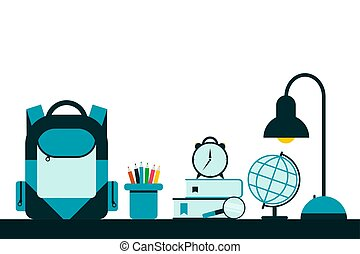 Back to school background with school supplies and school bag.