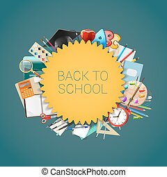 Back to school background with school supplies, education workplace accessories. vector illustration