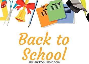 Back to school background with school supplies set