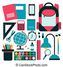 Back to school background with school supplies set.