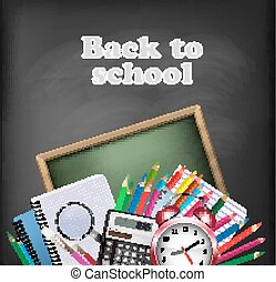 Back to school background with school supplies. Vector.