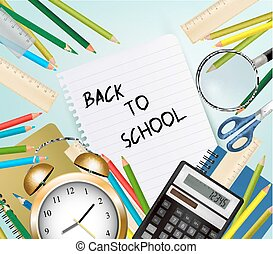 Back To School Background With Supplies Tool. Layered Vector.