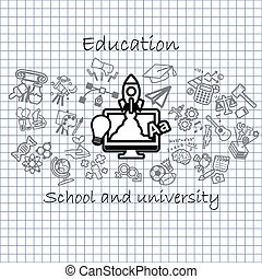 Back to School background,icon set