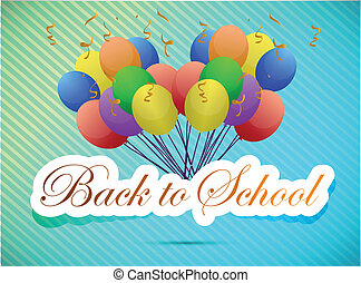 back to school balloon card illustration design