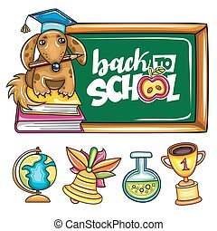 Back to school banner and icons.