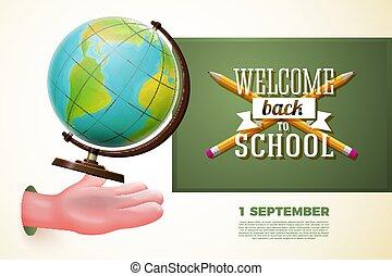 Back to school banner, cartoon hand catching globe