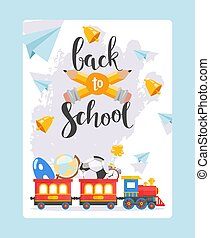 Back to school banner, children railway and red train with ...