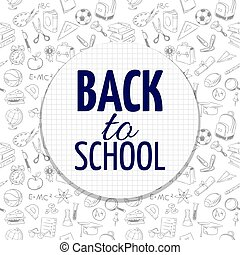 Back to school banner design with hand drawn school accessorises seamless pattern