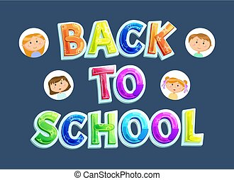 Back to School Banner, Pupils or Children and Sign