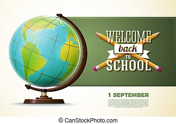Back to school banner template, globe on a table
