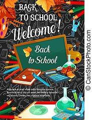 Back to school banner template on blackboard