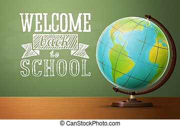 Back to school banner template, with globe