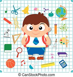 Back to school banner with boy, squared paper page background poster