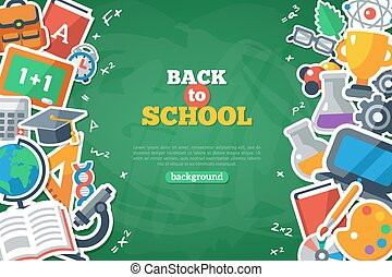 Back To School Banner With Flat Icon Set on Chalkboard Textured Backdrop.