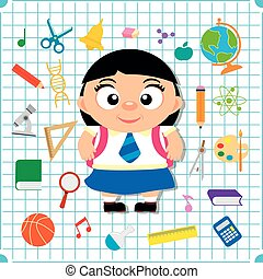Back to school banner with girl, squared paper page background poster