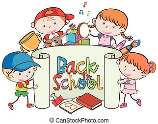 Back to School Banner with Kids