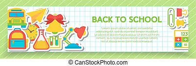 Back to school banner with school supplies such us paper plane, calculator, school bus, clock