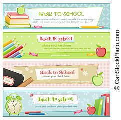 back to school banners - back to school - set of four pastel...