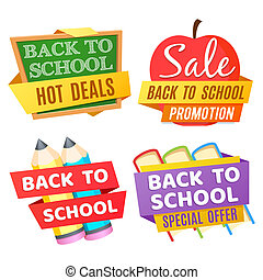 Back to school banners isolated on white background with desk, apple, pencils, books