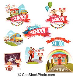 Back to school banners set. Vector illustration
