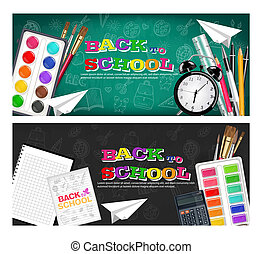 Back to school banners set Vector realistic. Alarm clock, brushes, pencil, watercolor palettes