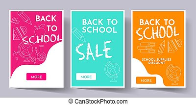 Back to school banners set with school supplies on doddle background.
