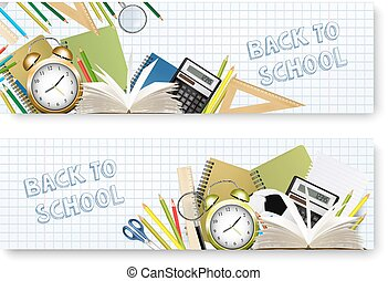 Back to School banners With Supplies Tols and Chalkboard. Layered Vector