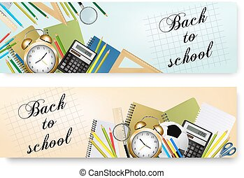 Back To School Banners With Supplies Tool. Layered Vector.