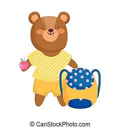 back to school, bear backpack and apple cartoon