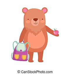 back to school, bear with backpack and apple cartoon
