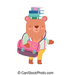 back to school bear with bag and books on head cartoon