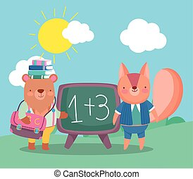 back to school, bear with books on head and squirrel chalkboard backpack