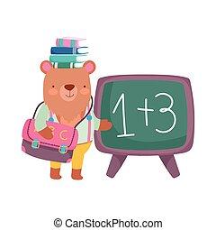 back to school, bear with books on head chalkboard backpack cartoon