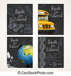 Back to school black banners set with doodles, yellow school bus and globe of planet Earth