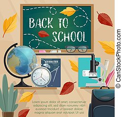 Back to school blackboard and stationery poster