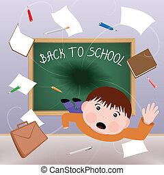 Back to School - Blackboard is devouring little schoolboy. ...