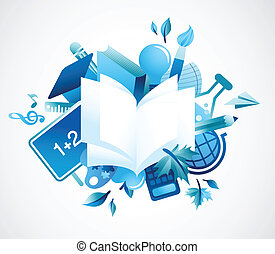 back to school - blue background