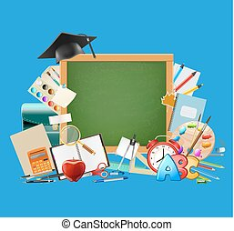 Back to school blue background with chalkboard, graduation cap, school supplies, education workplace accessories. vector illustration