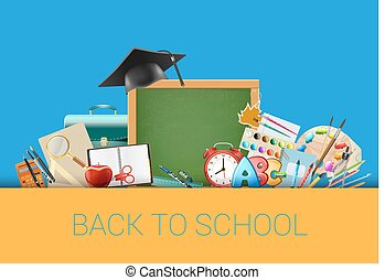 Back to school blue background with chalkboard, graduation cap, supplies, education workplace accessories. vector illustration