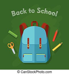 Back to School. Blue Backpack with Two Pockets.