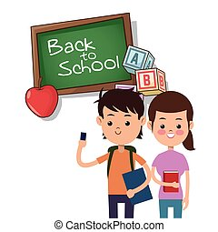 back to school boy and girl board apple alphabet cube
