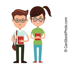 back to school boy and girl nerd students