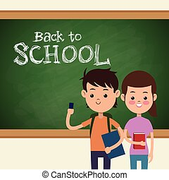back to school boy and girl student and board