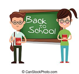 back to school boy and girl student backpack and book