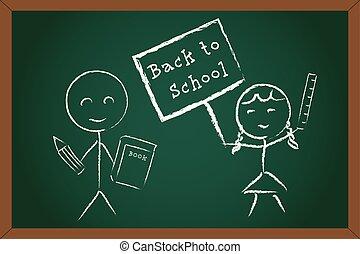 Back to School Boy Girl on Green Chalk Board