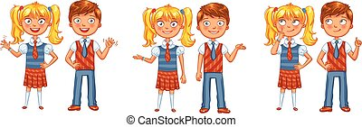 Back to school. Boys and girls posing together